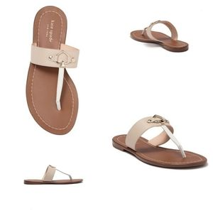 NWT Kate Spade Camila Taupe Leather Thong Sandals